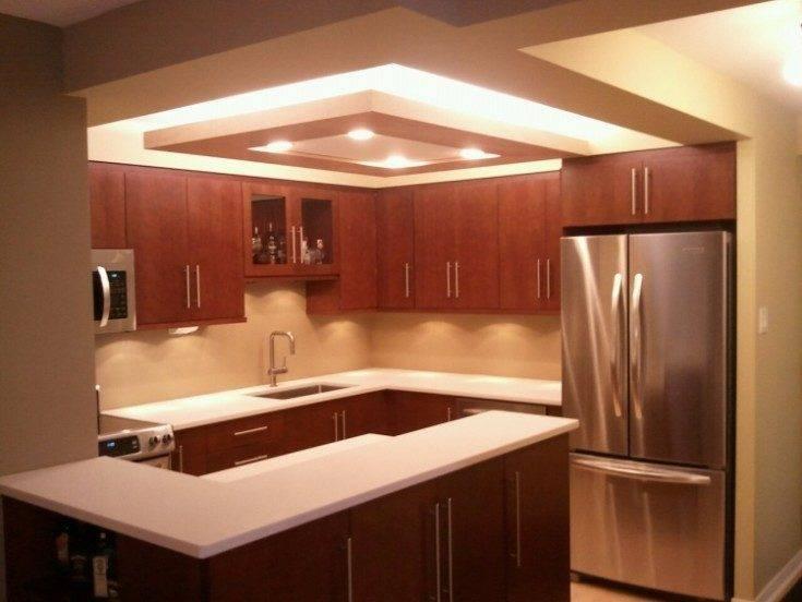 Различные варианты дизайна потолков из гипсокартона на кухне