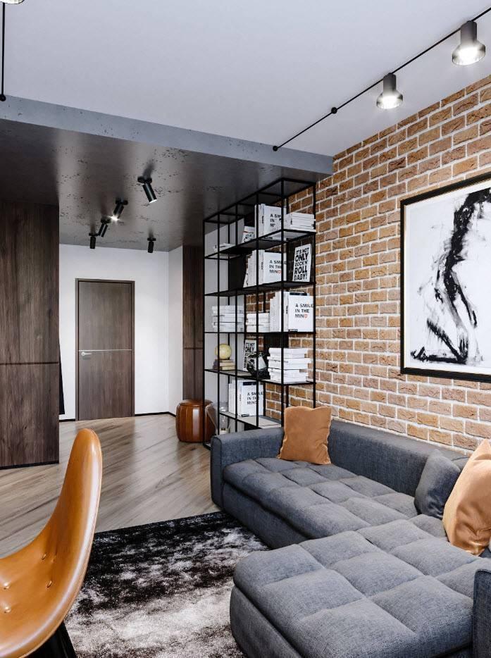 Дизайн гостиной в стиле лофт:  58 фото в интерьере