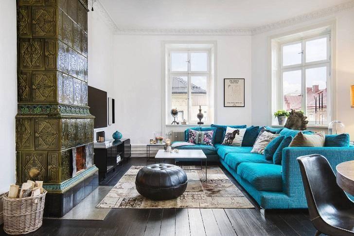 Синий диван: 90 фото современных моделей и варианты их использования