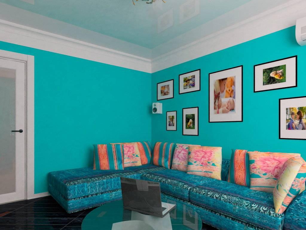 Бирюзовые обои (43 фото): сочетание голубого и коричневого цвета стен в гостиной, нежные оттенки бирюзы в интерьере зала