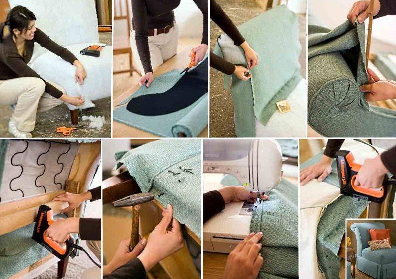 Как перетянуть кресло своими руками (пошагово, с фото и видео)