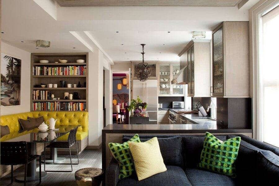 Дизайн кухни-столовой-гостиной: 57 фото, планировка и зонирование