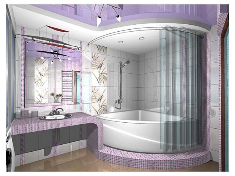 Ванная комната с угловой ванной: планировка и дизайн
