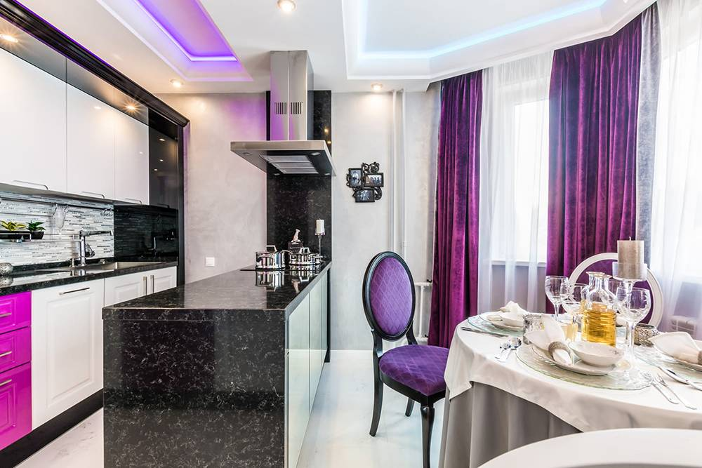 Фиолетовые кухни в интерьере