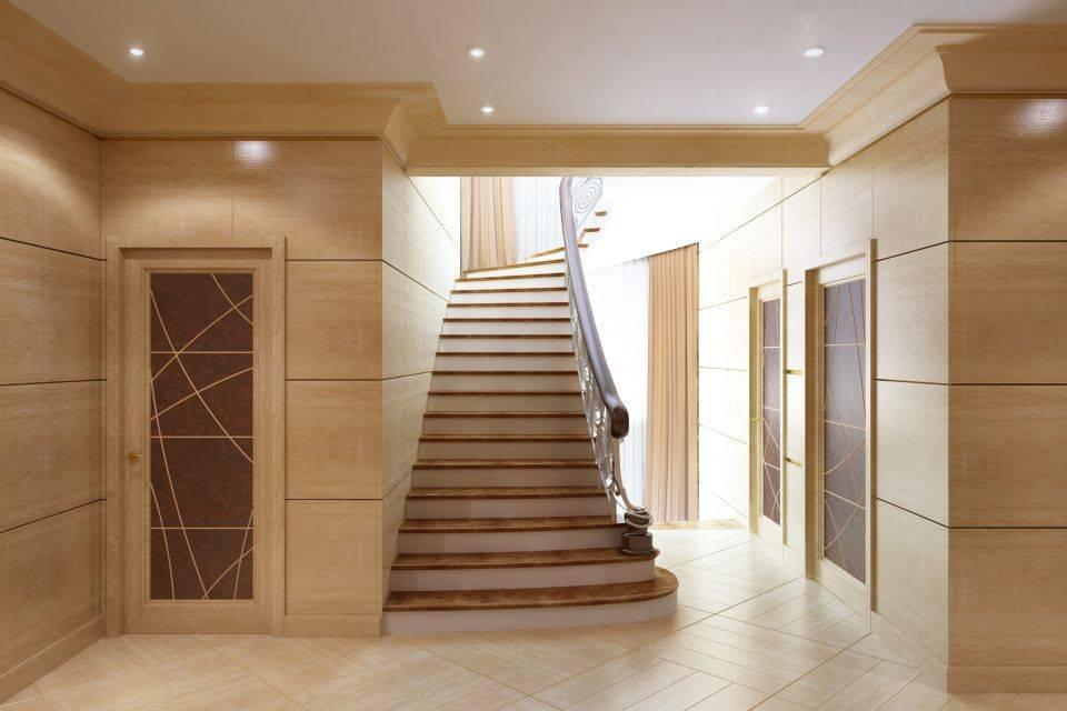 Дизайн холла в частном доме с лестницей (48 фото): отделка интерьера зала с подъемом на второй этаж, выбор обоев