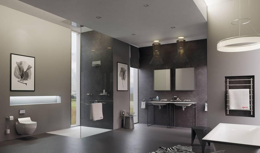 Дизайн ванной в современном стиле хай-тек