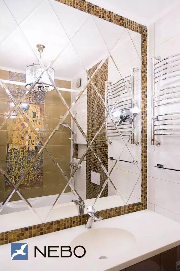 Зеркальная плитка в интерьере кухни и гостиной: использование на разных поверхностях