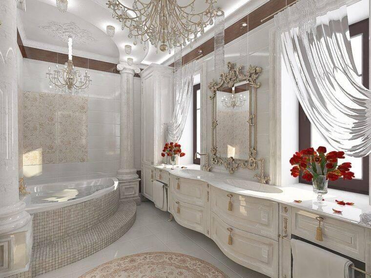 Ванная комната в классическом стиле: дизайн, 50+ фото в интерьере