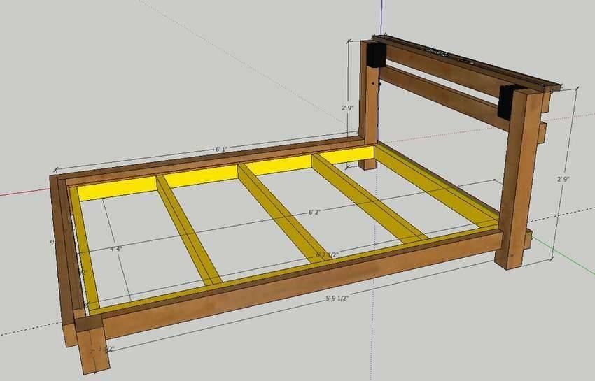 Кровать своими руками из дерева: чертежи и сборка, инструкция