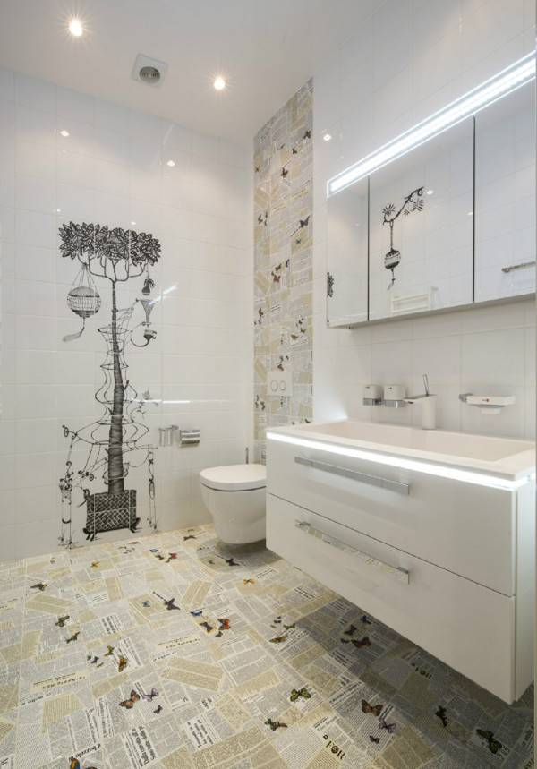 Дизайн ванной комнаты и туалета облицованных керамической плиткой