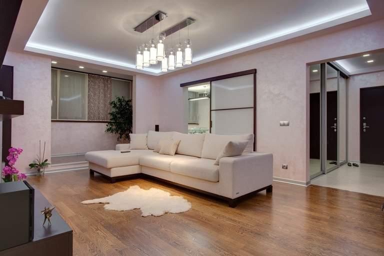 Оформление потолка в гостиной: виды конструкций, форм, цвет и дизайн, идеи освещения