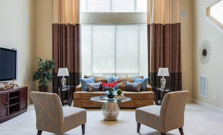Золотистые шторы в интерьере: 50 фото с примерами дизайна