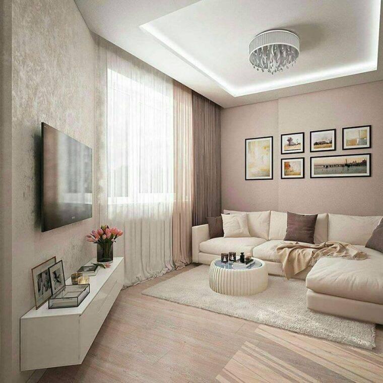 Дизайн гостиной комнаты 17 кв. м. - фото в современном стиле