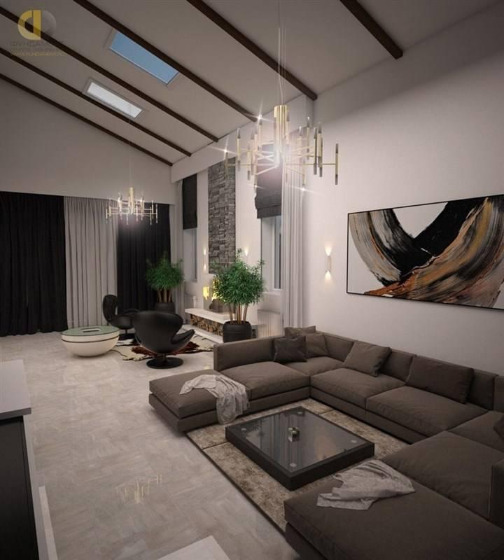 Оформление интерьера гостиной в современном частном доме