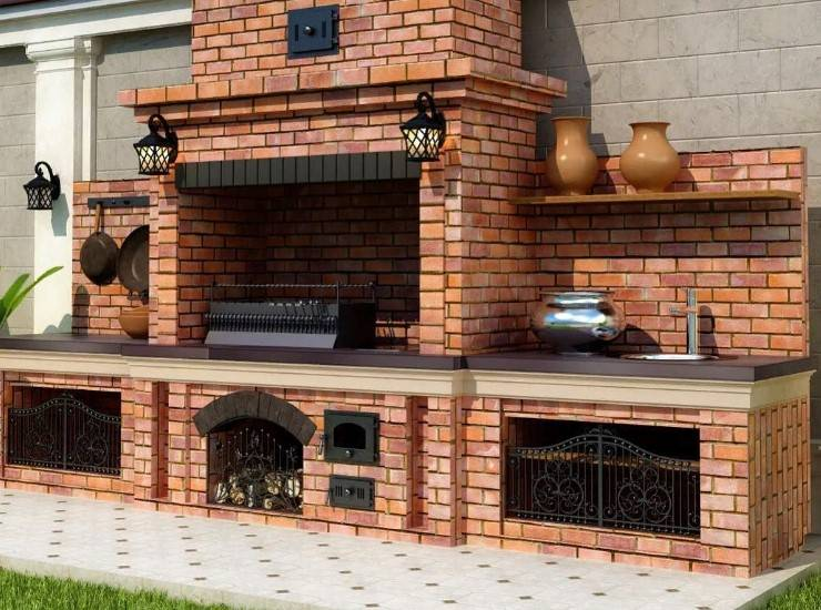 Беседки с мангалом, барбекю и печкой (62 фото): зимние постройки из бруса и кирпича, садовая печь с коптильней
