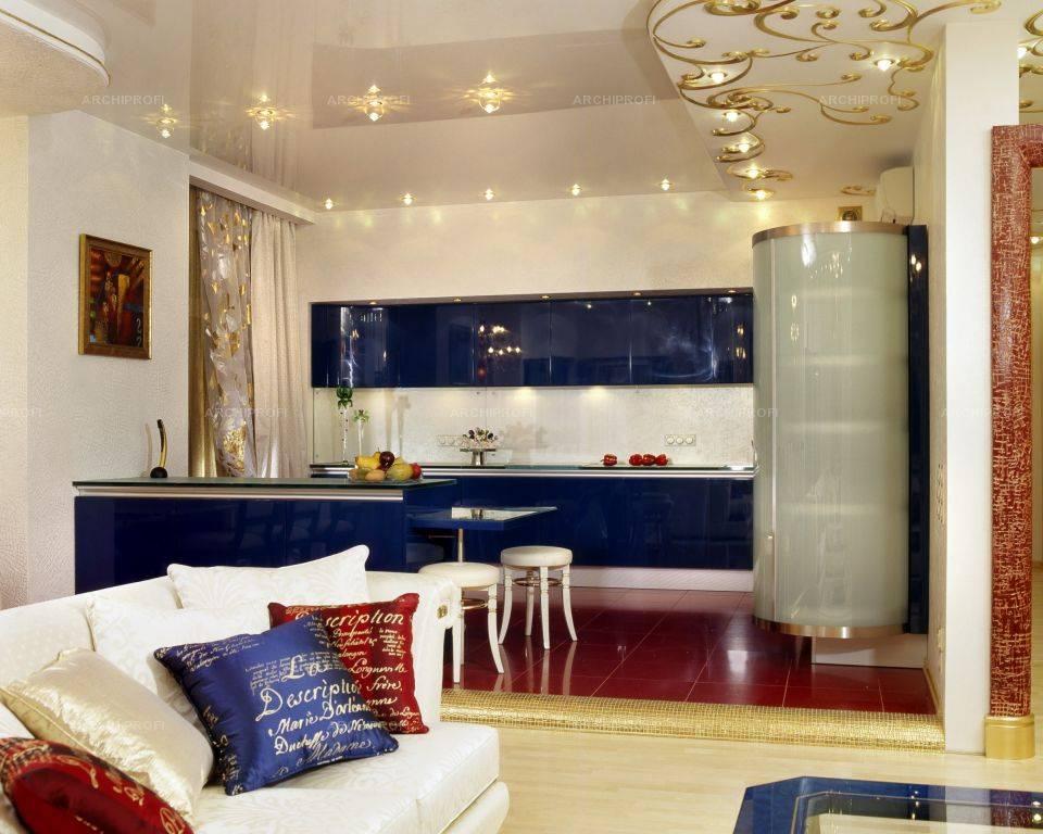 Потолок в кухне-гостиной (41 фото): интерьер совмещенной студии, современный дизайн