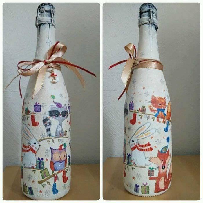 Декупаж бутылок: 70 фото лучших идей по созданию красивого дизайна