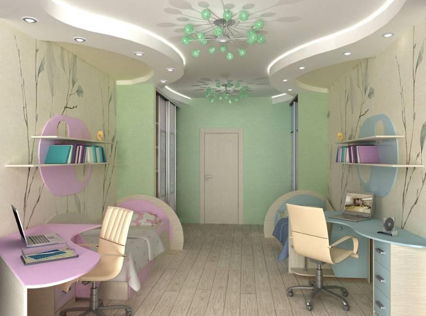 Детская для мальчика и девочки в одной комнате, дизайн интерьера для двоих разнополых детей, в том числе разного возраста + фото