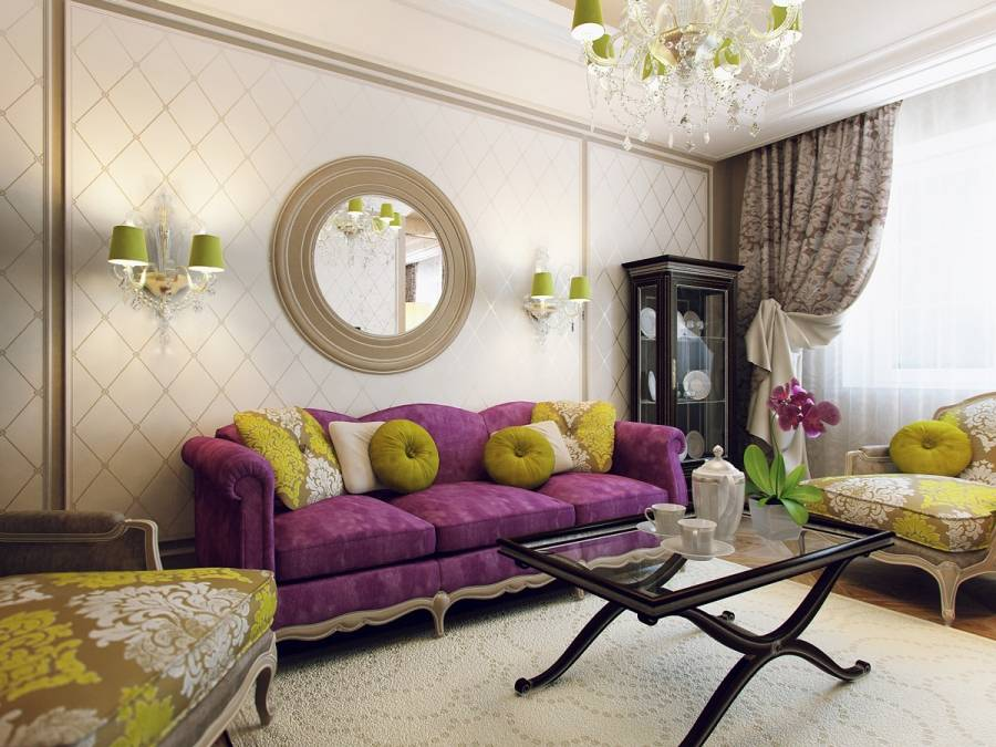 Зеленый диван в гостиной – весенний акцент в интерьере