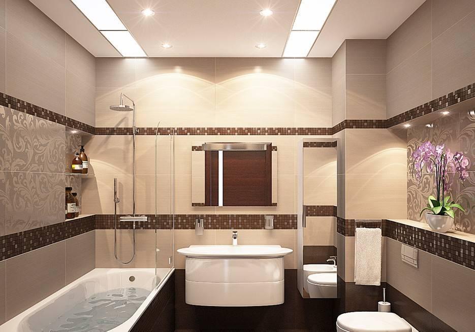 Дизайн ванной комнаты в нежном бежевом цвете
