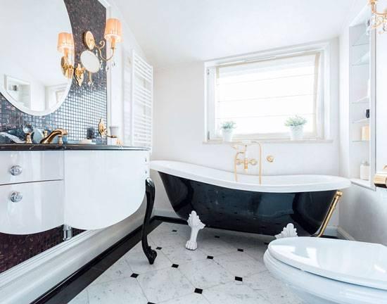 Дизайн ванной комнаты в черно-белых тонах