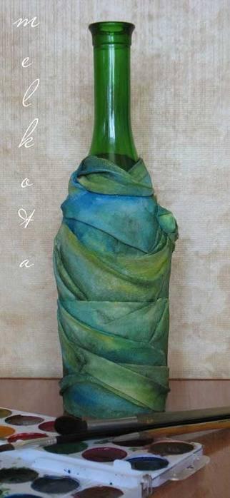 Декор бутылок тканью: 50 идей