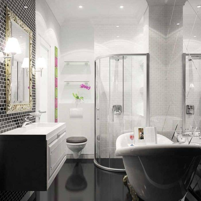 Черно-белая плитка для ванной (40 фото): дизайн ванной комнаты с плиткой в черно-белых тонах. отделка ванной напольной и настенной плиткой в черно-белом цвете