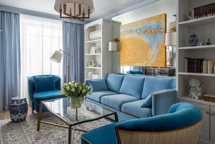 Синие диваны в интерьере