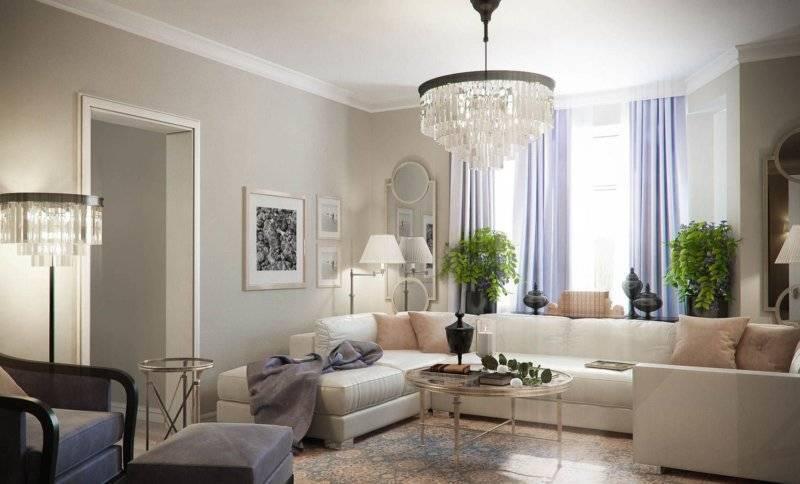 Какая люстра уместна в интерьере гостиной: принципы выбора и фото