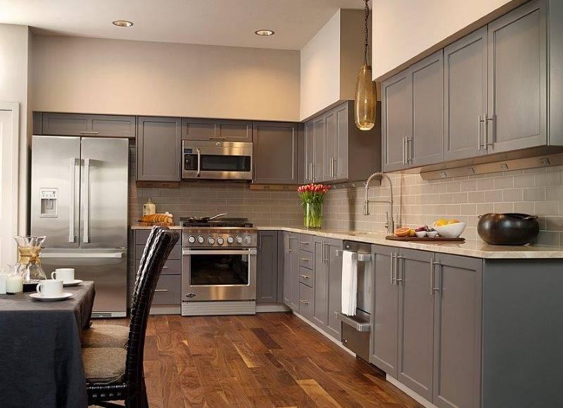 Серый кухонный гарнитур: примеры расположения в интерьере, сочетание с другими тонами, выбор стиля