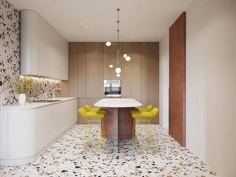 Плитка для кухни на пол и фартук (35 фото интерьеров)