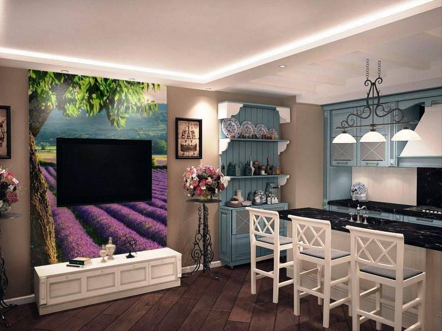 Фото интерьера в стиле прованс, выбор расцветки обоев для кухни данного стиля
