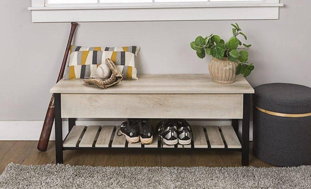 Скамейка в прихожую (60 фото): выбираем скамью с ящиком, полкой для обуви и мягким сиденьем, кованые скамейки со спинками в коридор, маленькую скамейку-тумбу