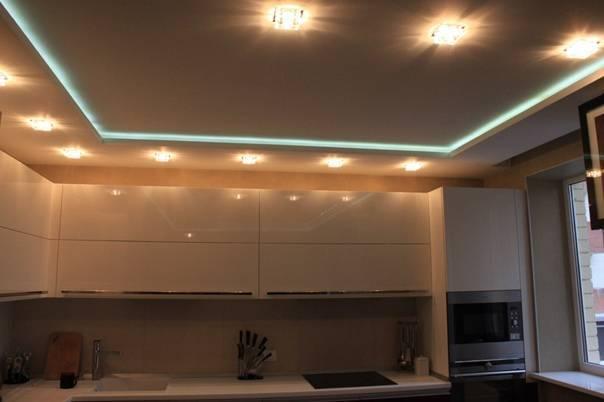 Идеи для дизайна потолка из гипсокартона на кухне