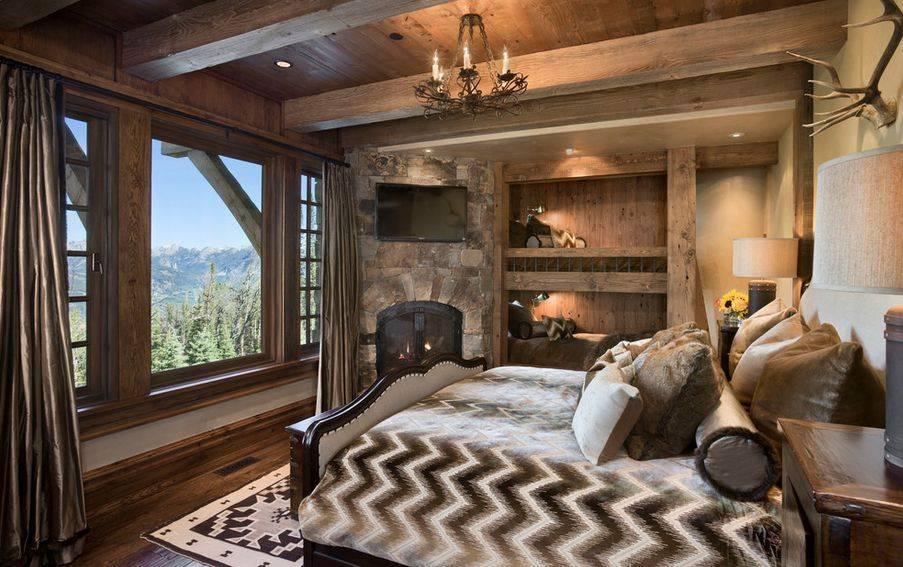 Дизайн спальной комнаты в стиле шале с фото