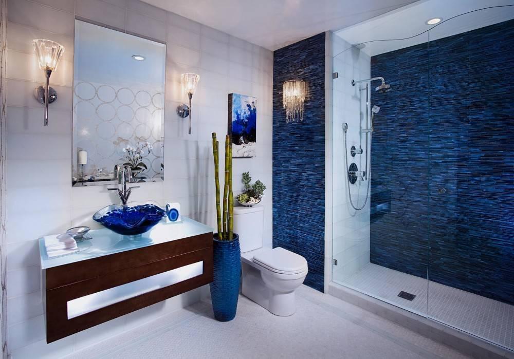 Синяя ванная комната: оттенки цвета, правила сочетания и популярные стили