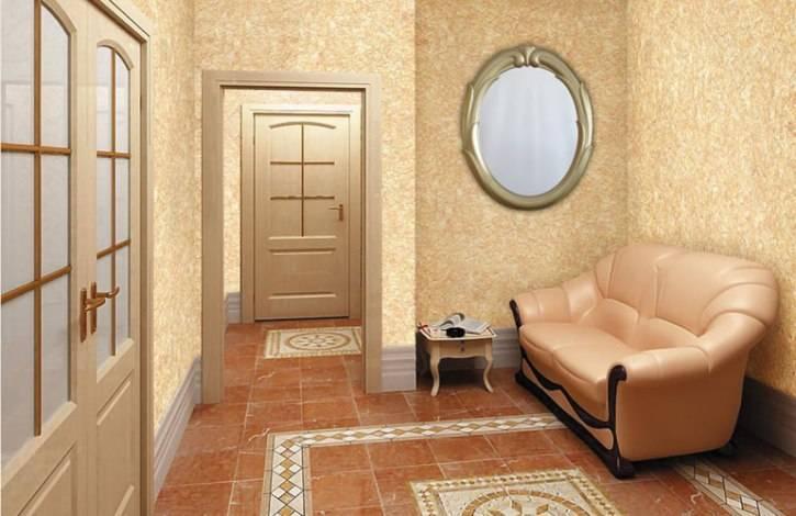 Интерьер прихожей и коридора с жидкими обоями