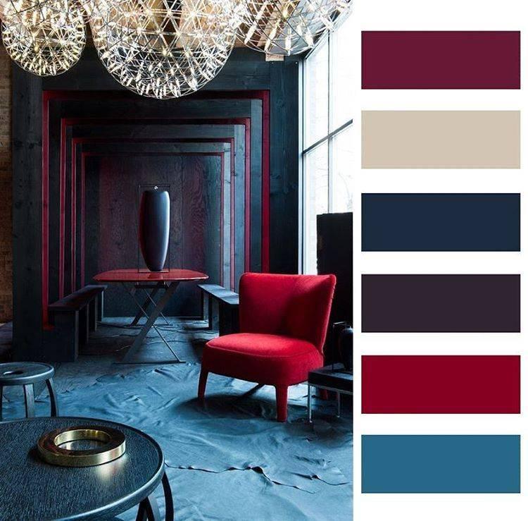 Сочетание бордового цвета с другими цветами в интерьере