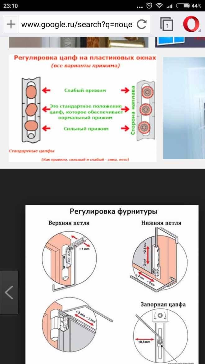 Регулировка пластиковых дверей при помощи навесов