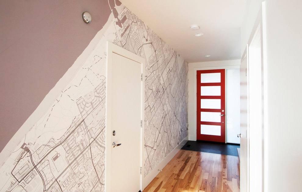 Дизайн коридора в квартире комбинированными обоями (69 фото): как скомбинировать в прихожей два вида цветов, варианты поклейки