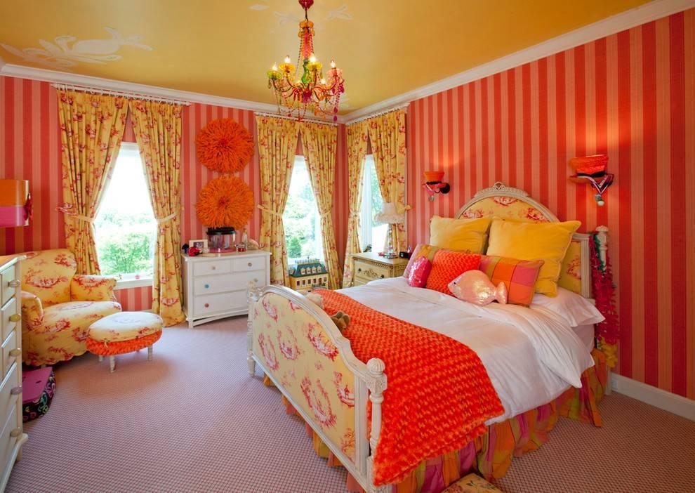Оранжевая спальня - 90 фото примеров интерьера