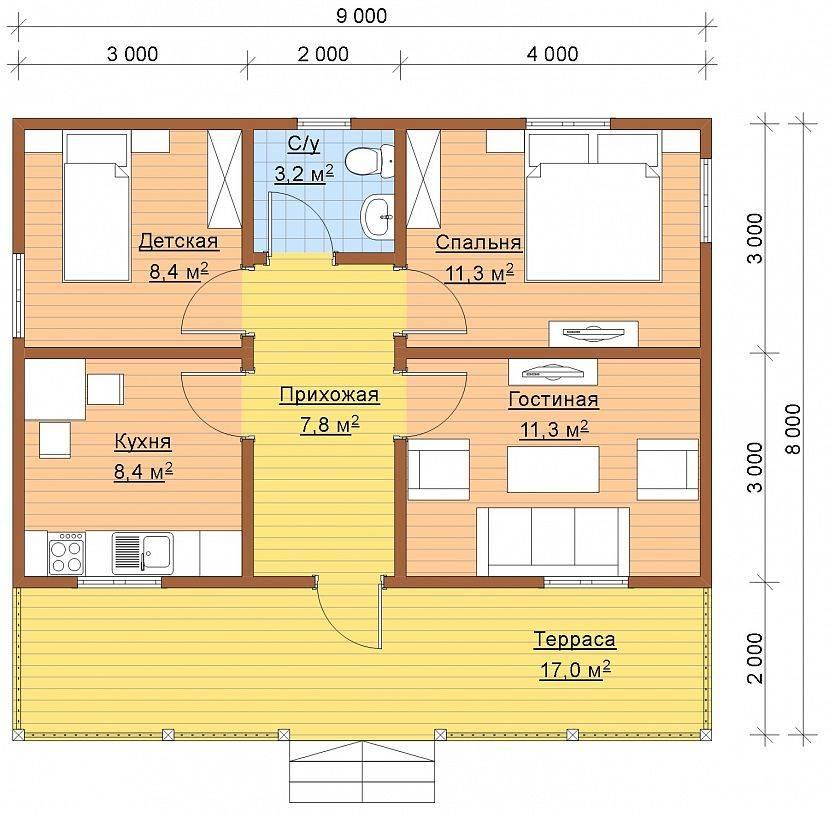 Одноэтажные жилые дома 6x8 в москве проекты для строительства с фото и ценами