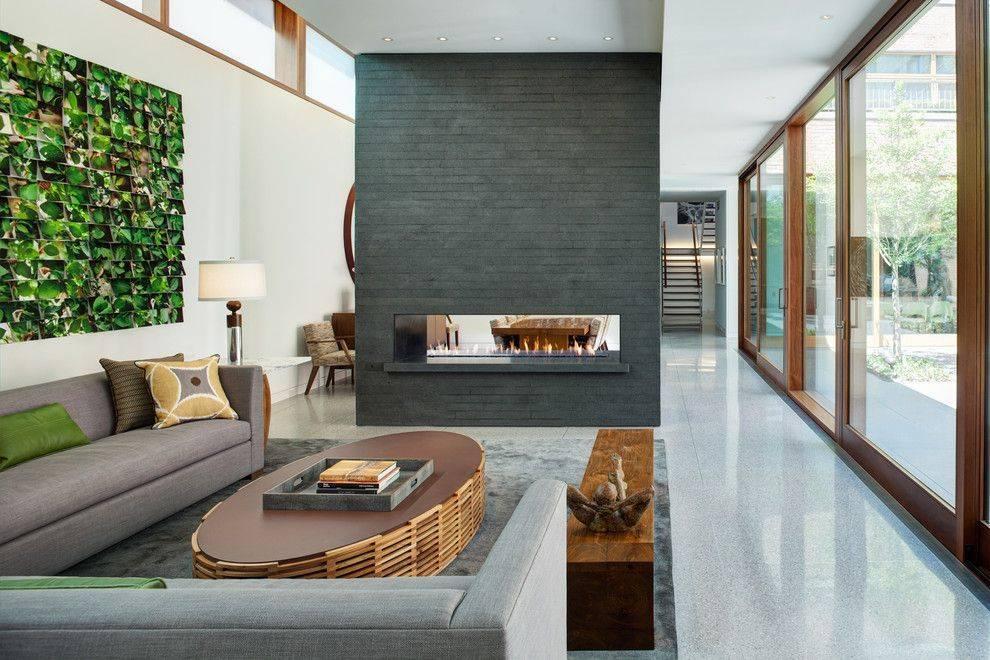 Биокамин в интерьере гостиной и других комнат дома, современный дизайн