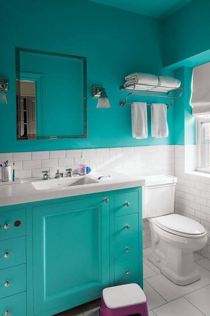 Ванная в бирюзовом цвете — 70 фото интересных идей оформления