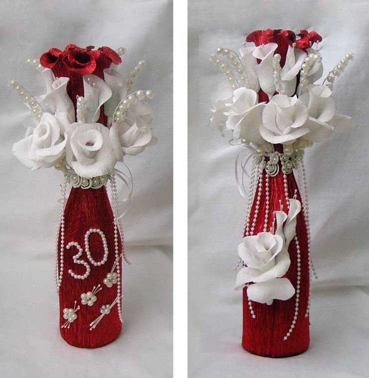 Декорирование бутылки к 8 марта - «декор»