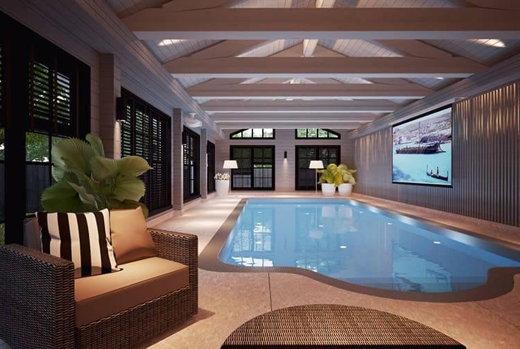 Бассейн в частном доме, где располагается и в каких стилях оформляется, популярные стилевые решения - 18 фото