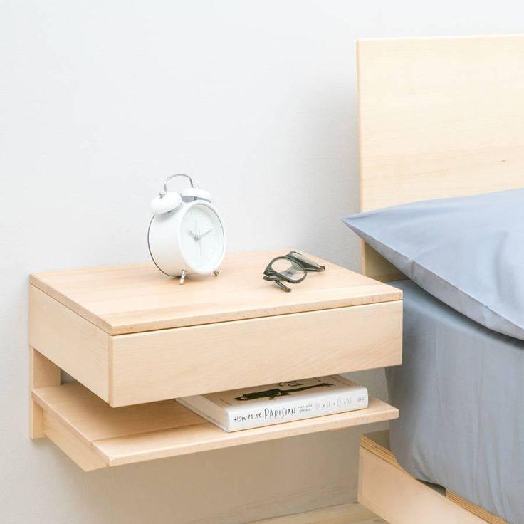 Узкая прикроватная тумбочка в спальню - модели и размеры | фото