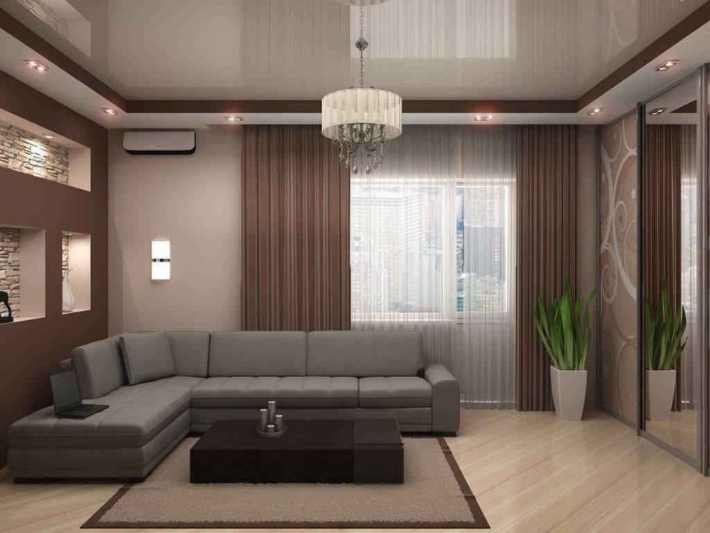 Натяжной потолок в гостиной – современное и практичное решение
