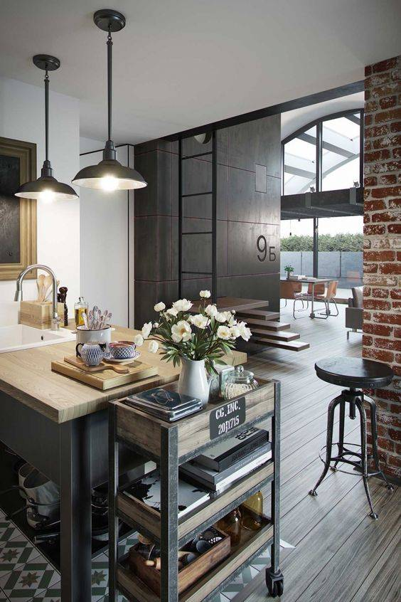 Кухни в стиле лофт: дизайн интерьера, цветовые сочетания, кухня-гостиная