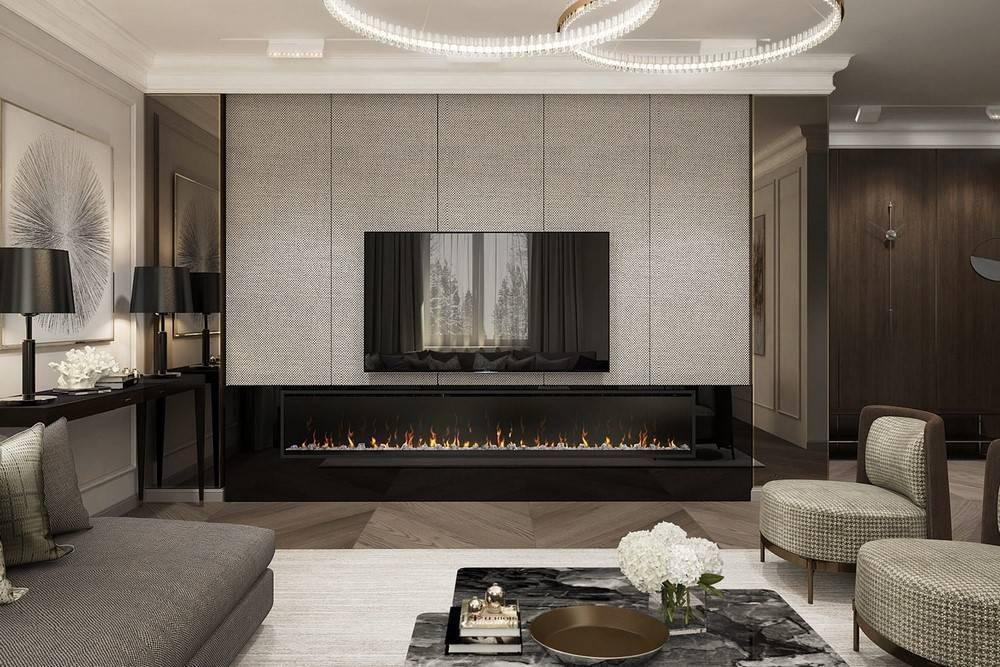 Камин в интерьере (99 фото): оформление комнаты в современном стиле, красивый трехсторонний в гостиной в квартире
